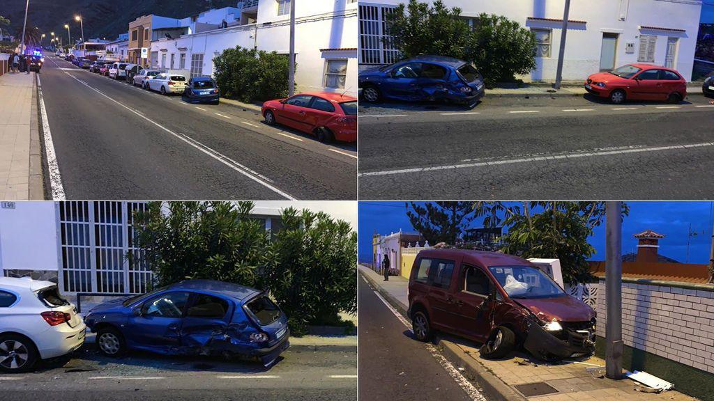 Un conductor ebrio y drogado choca contra cinco coches y dos viviendas en Tenerife