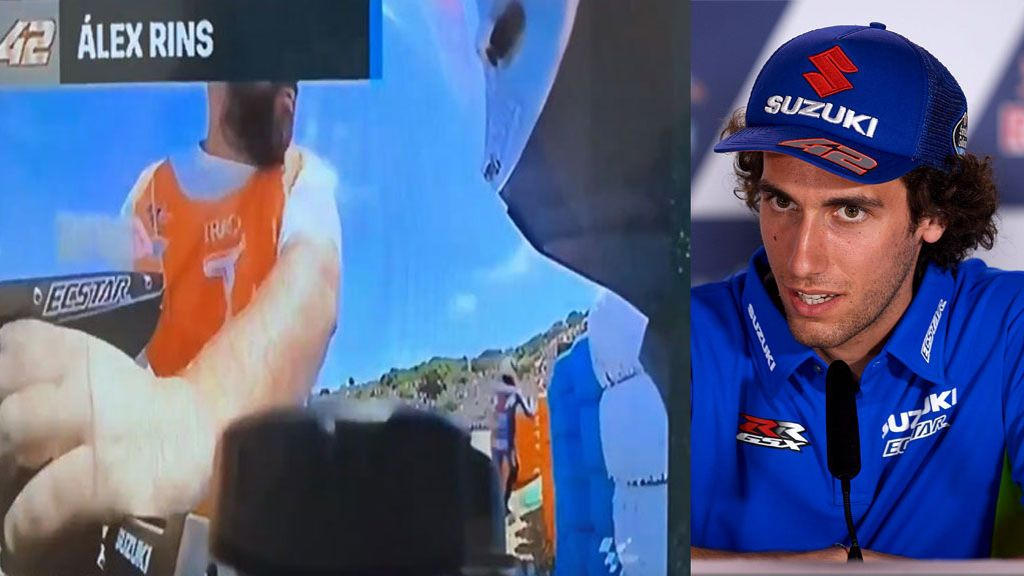 ¡Pillado! Un comisario de Jerez se lleva una pieza de la moto de Álex Rins en plena celebración