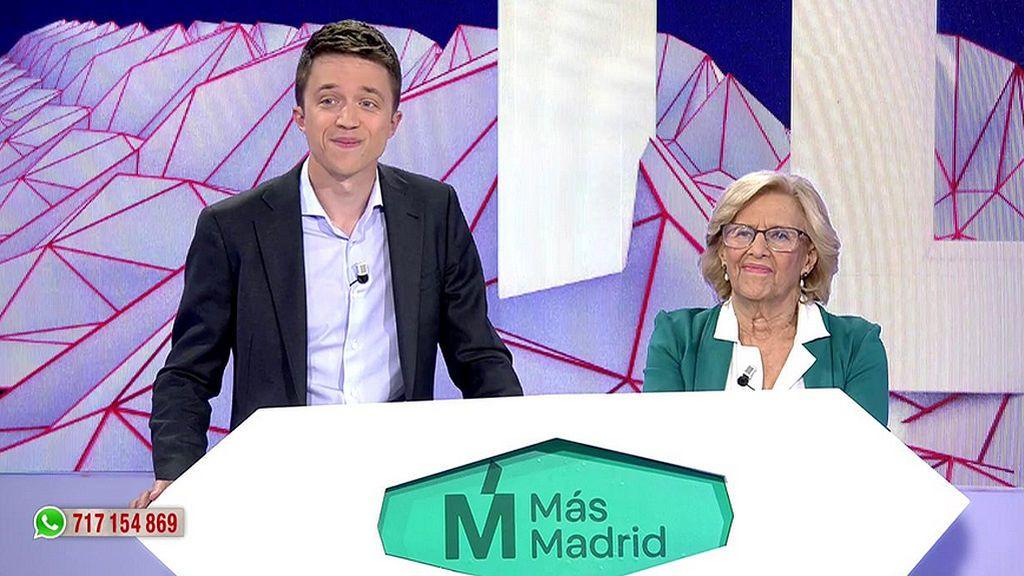 Manuela Carmena e Iñigo Errejón, de Más Madrid, se enfrentan al primer 'Entrebate' de la televisión