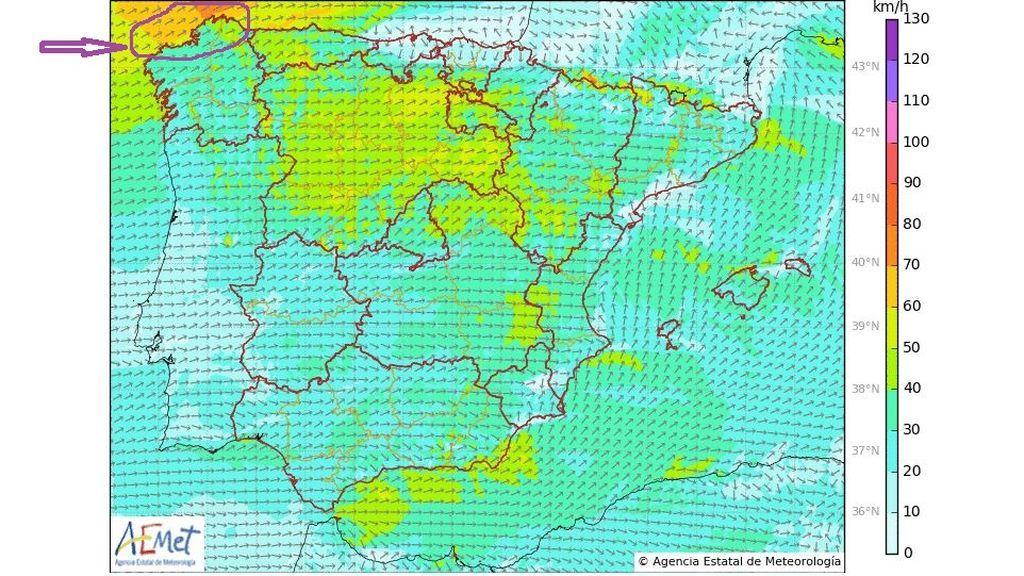 Rachas de viento previstas el miércoles 8 de mayo en la Península