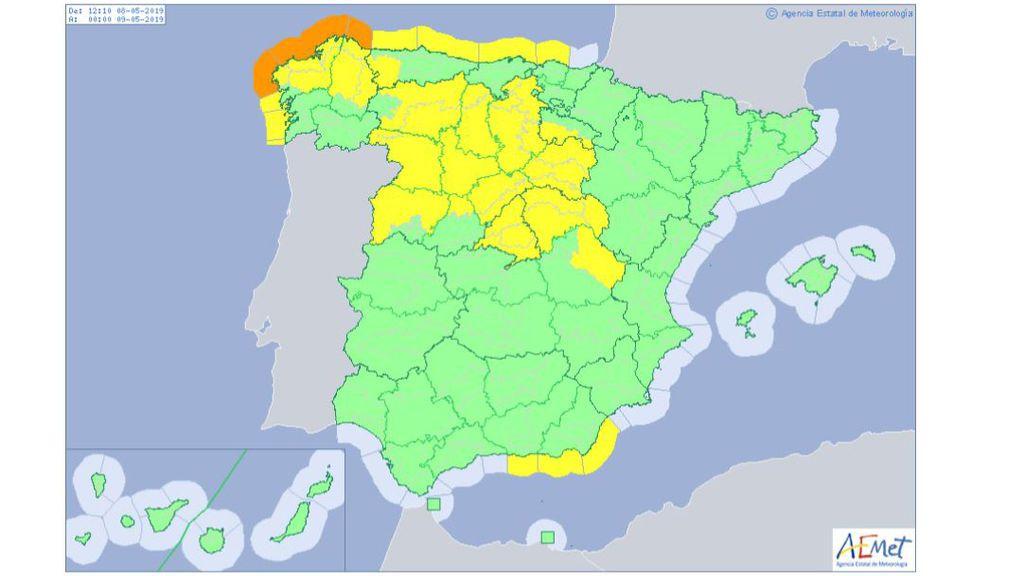 Avisos por viento y riesgo marítimo previstos para el miércoles