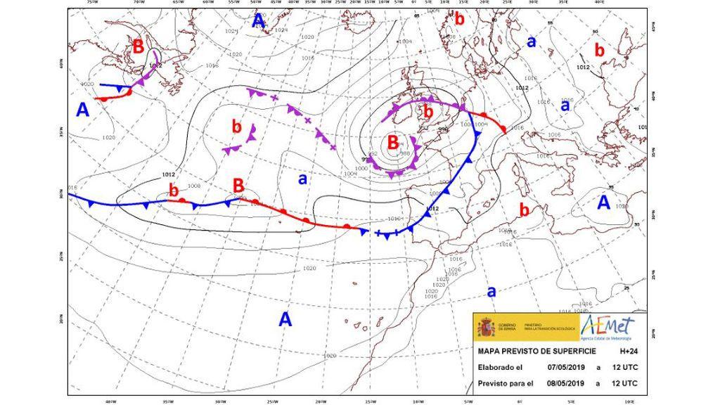 Mapa con frentes previstos para el miércoles 8 de mayo