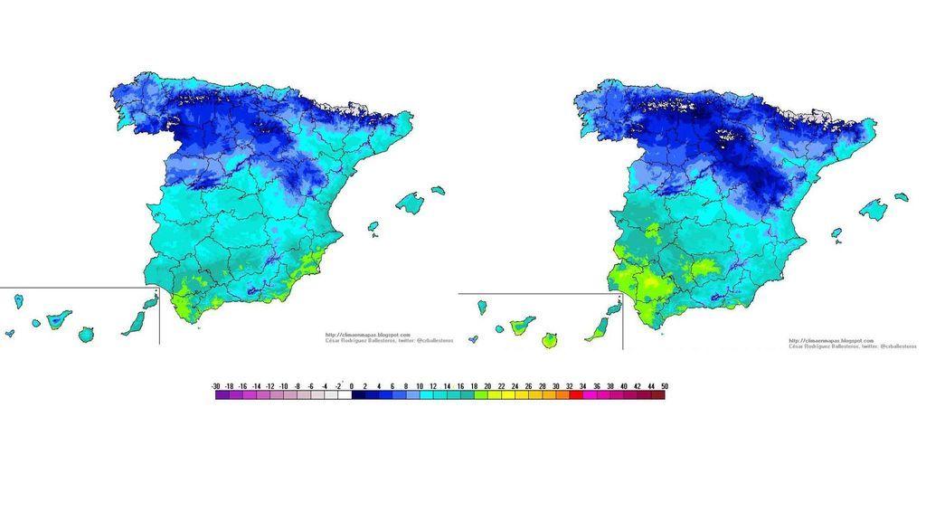 Temperaturas máximas previstas para el sábado y domingo, respectivamente