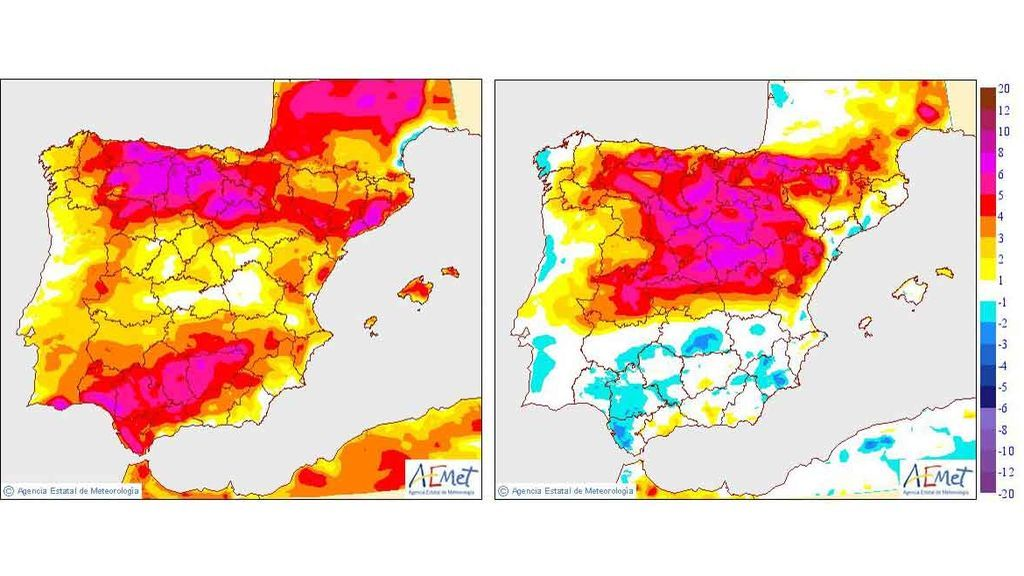 Subida de temperaturas máximas y mínimas, respectivamente, prevista para el viernes