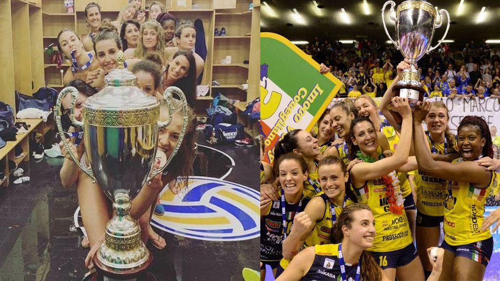 Las jugadoras del Imoco Volley Conegliano se desnudas para celebrar el título liguero