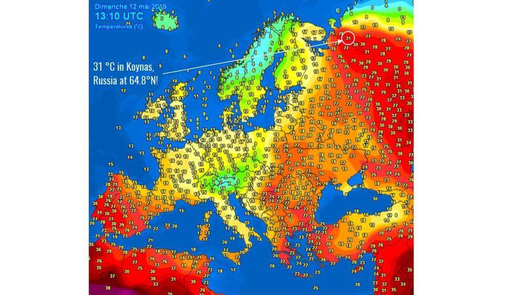 Temperaturas registradas en Europa el domingo, 12 de mayo