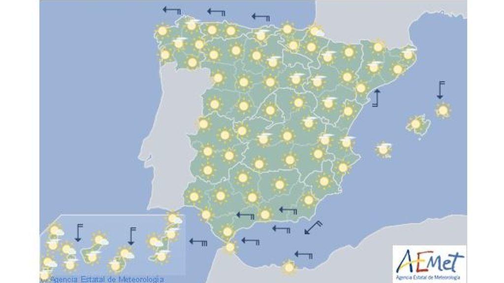 Mapa de predicción para el martes, 14 de mayo
