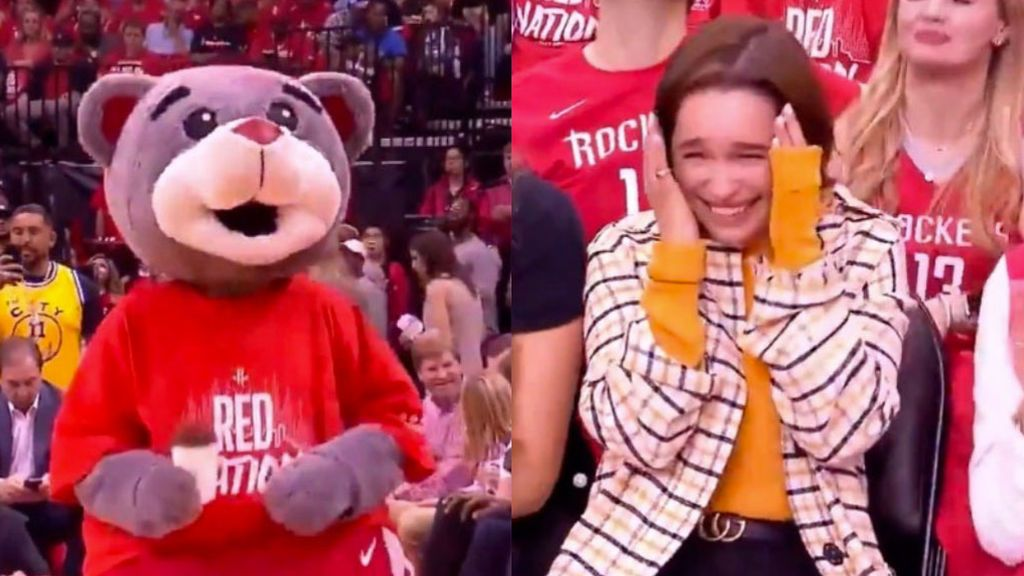 La mascota de los Houston Rockets le gasta una broma en directo a Emilia Clarke, Daenerys Targaryen en Juego de Tronos