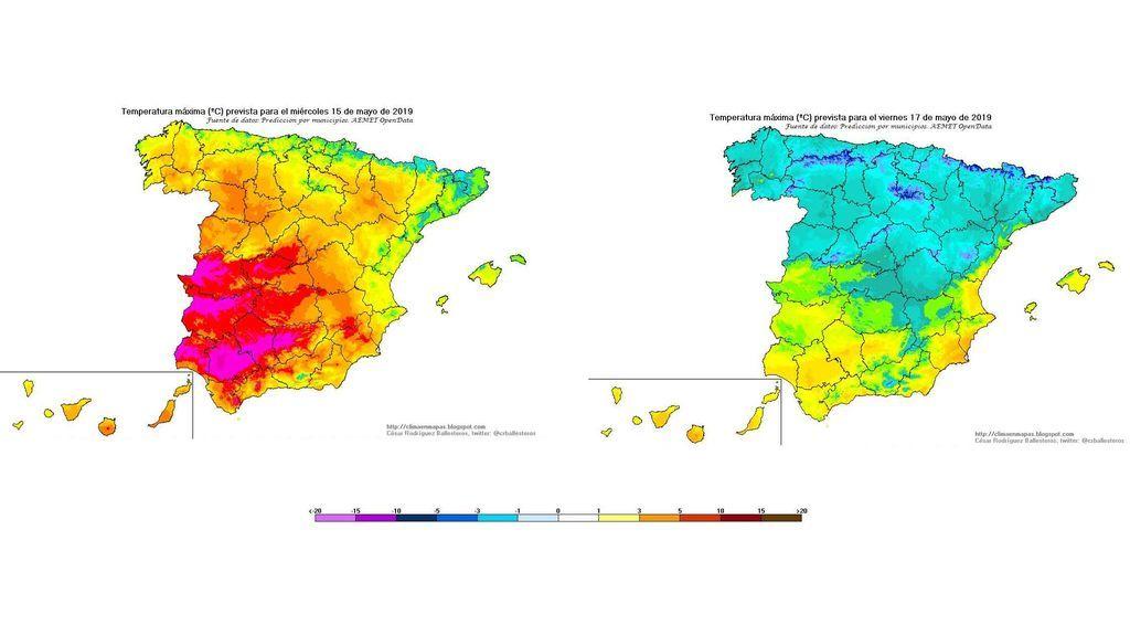 Temperaturas máximas el miércoles y viernes, 15 y 17 de mayo, respectivamente