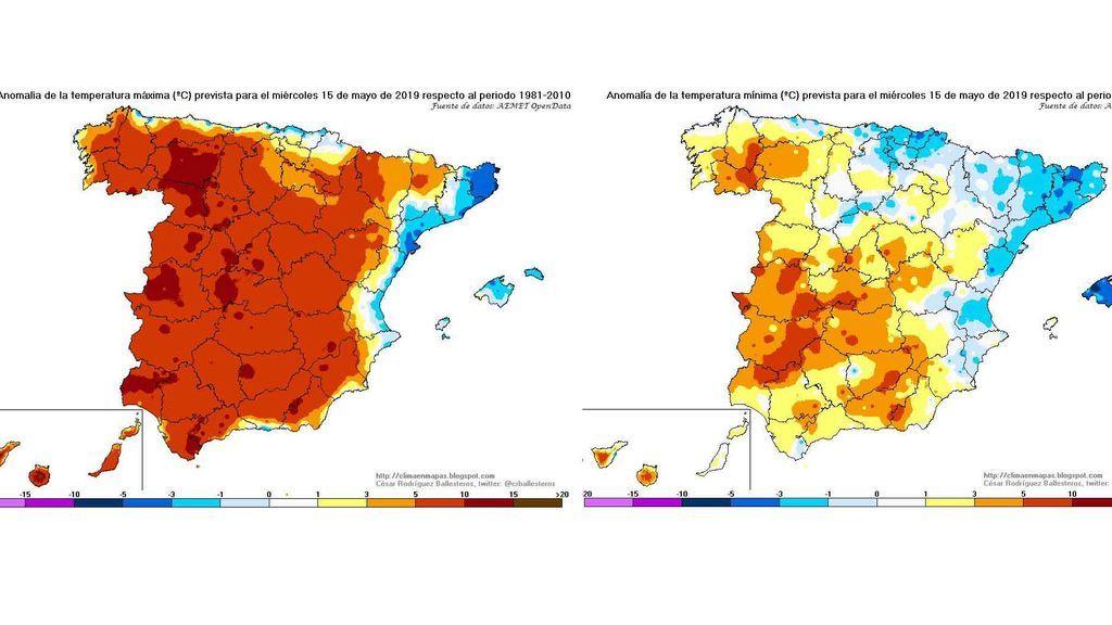 Anomalía de las temperaturas máximas y mínimas previstas el miércoles