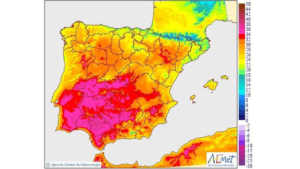 Temperaturas máximas previstas para el miércoles, 15 de mayo