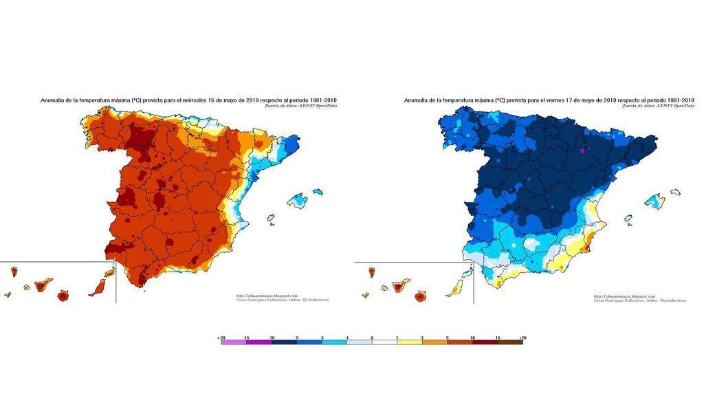Anomalía de las temperaturas máximas el miércoles en comparación con el viernes