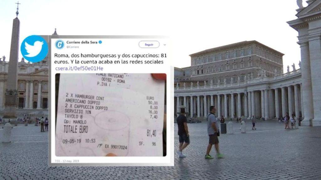 Desorbitada cuenta en Roma: 81 euros por dos hamburguesas y tres cafés