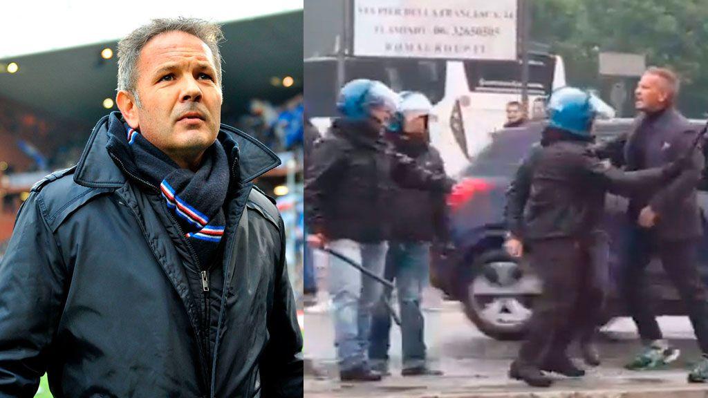 La policía separa a Sinisa Mihajlovic tras encararse con un aficionado que le llamó 'gitano'