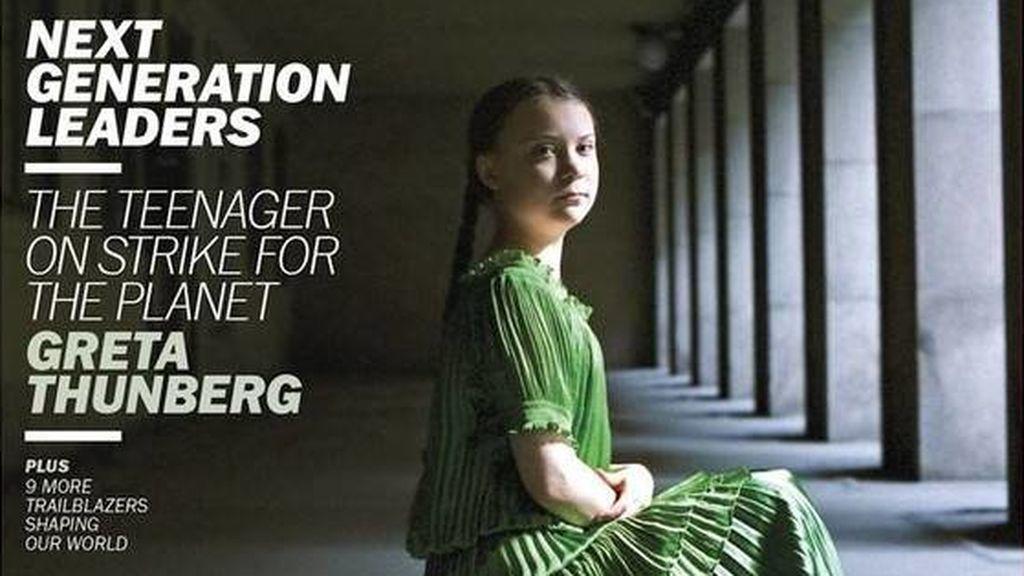 La joven activista sueca Greta Thunberg, portada de la revista Time