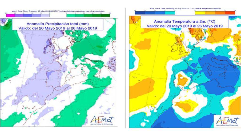 Anomalía de las precipitaciones y temperaturas la semana que viene con respecto a valores normales