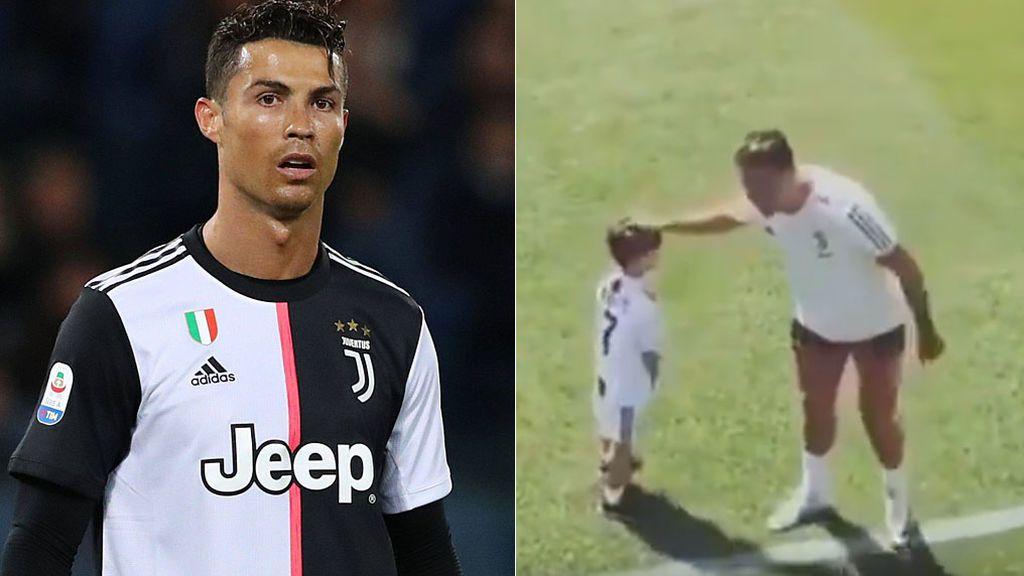 La risa de Cristiano cuando el hijo de Pjanic le hace su celebración en el entrenamiento de la Juventus