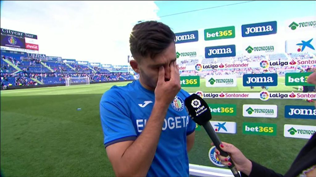 Las lágrimas del canterano del Getafe  Hugo Duro tras clasificarse para la Europa League