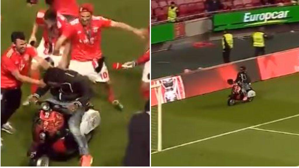 Eliseu, ex del Málaga, celebra la liga con el Benfica haciendo trompos con una moto en el terreno de juego