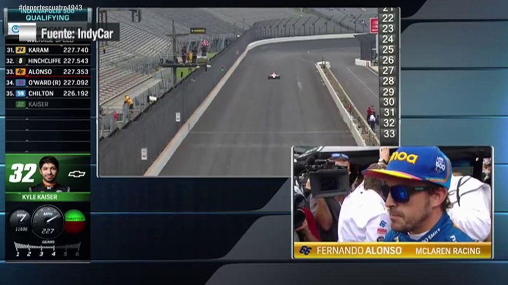 La reacción en directo de Fernando Alonso al ver que quedaba eliminado de la IndyCar Series
