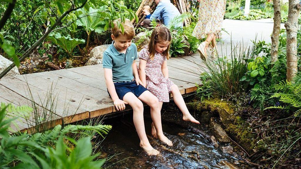 Geroge y Charlotte de Cambridge, sobre el puente de madera, chapotean en el riachuelo del jardín