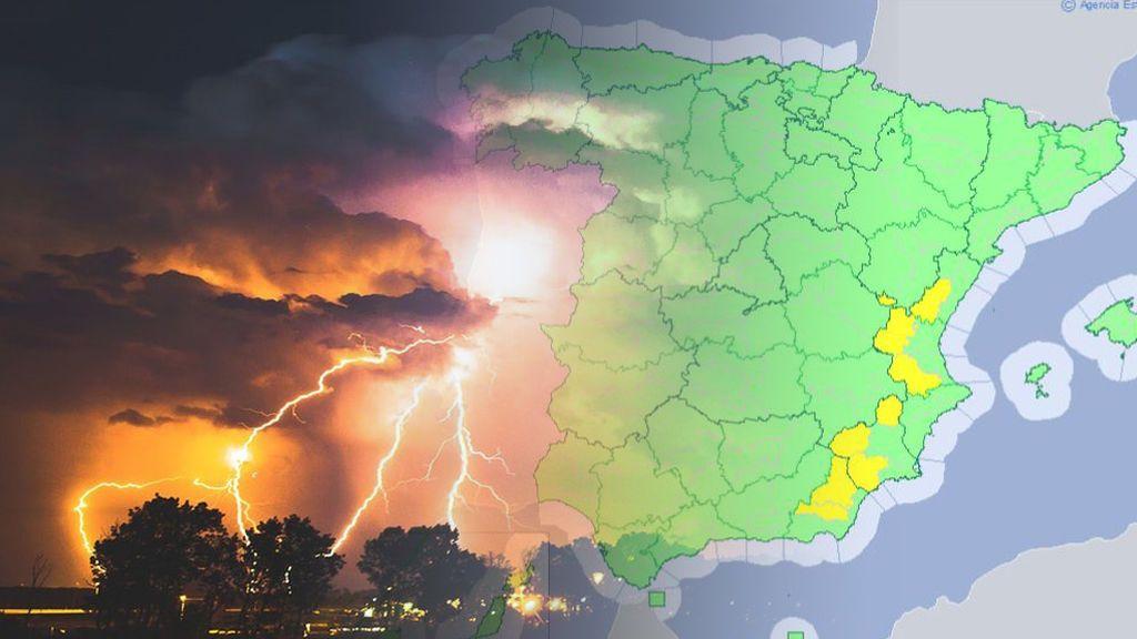 Tormentas en el Levante: avisos por 20 litros/m² de agua en tan sólo una hora