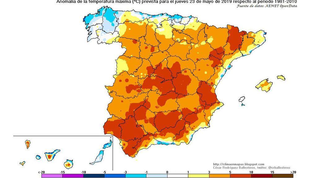 Anomalía de las temperaturas máximas prevista para el jueves