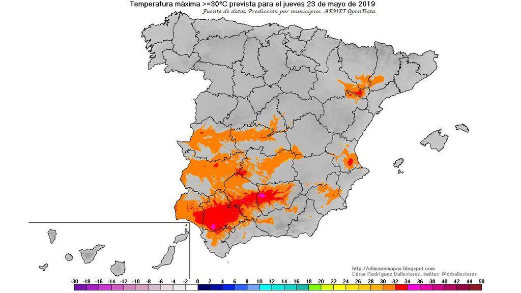 Regiones donde se esperan ≥30ºC de máxima el jueves