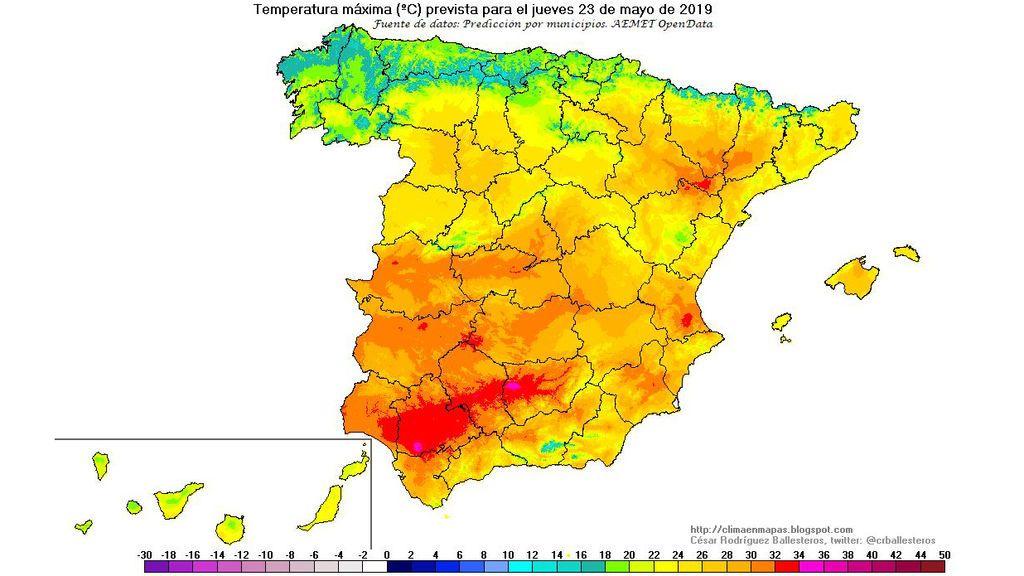 Temperaturas máxima previstas para el jueves, 23 de mayo