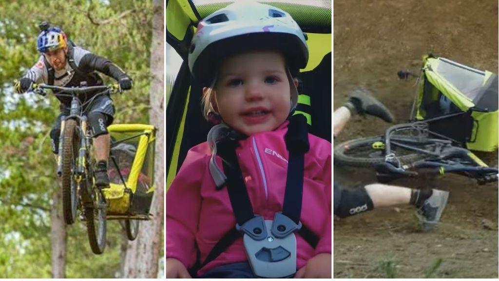 La temeridad de un ciclista con un carrito de bebé que casi termina en tragedia