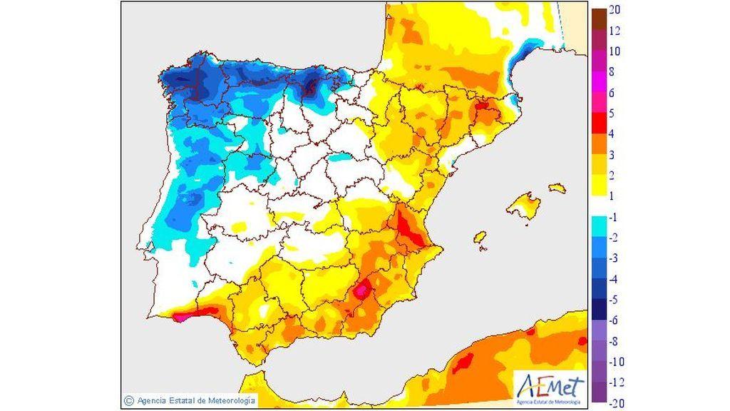 Variación de las temperaturas máximas prevista para el jueves, 23 de mayo