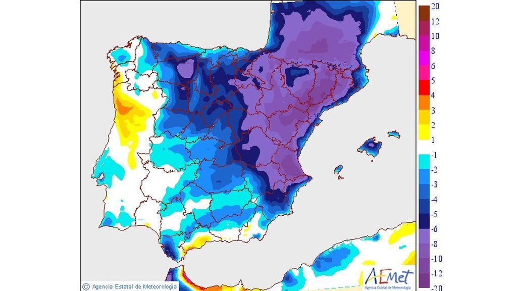 Variación de las temperaturas máximas previsto para el viernes, 24 de mayo