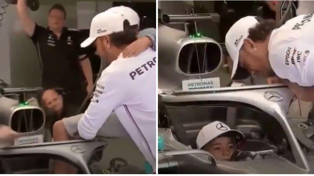 Hamilton sube a Cristiano Jr en su Mercedes mientras Cristiano Ronaldo y Georgina alucinan