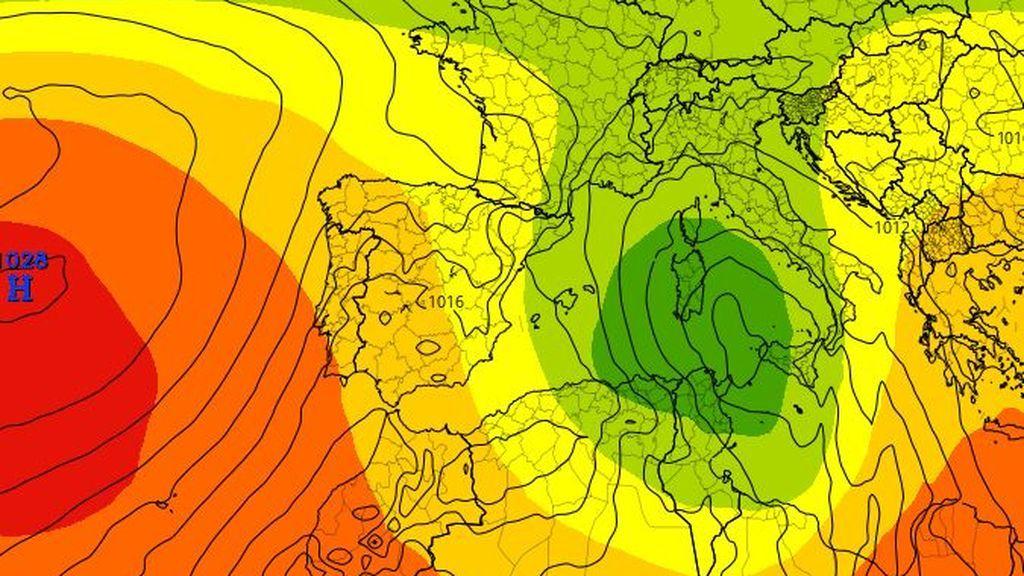 Previsión a 500 mb prevista para el lunes según el modelo ECMWF