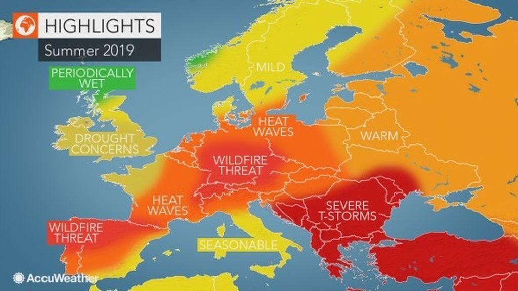 Previsión general del verano 2019 en Europa / AccuWeather