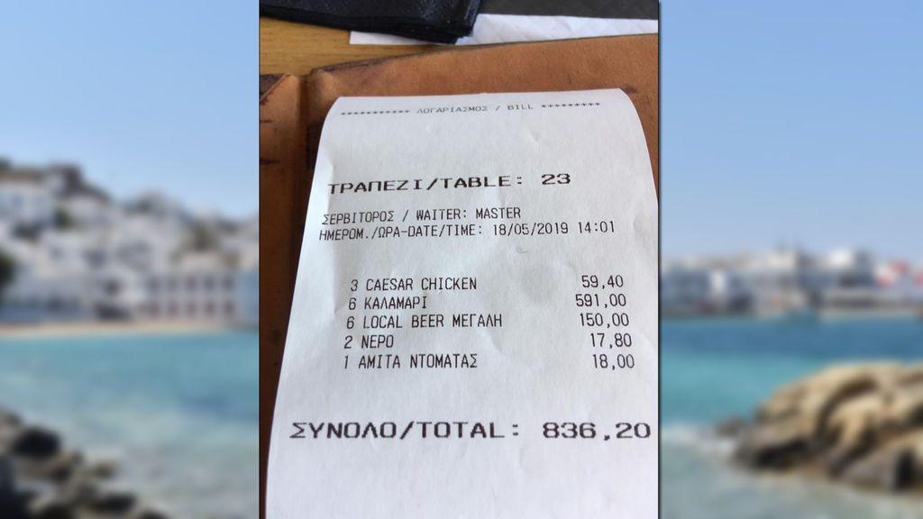 Seis platos de calamares y seis cervezas por 741€, la cuenta que dejó sin palabras a un turista en Miconos
