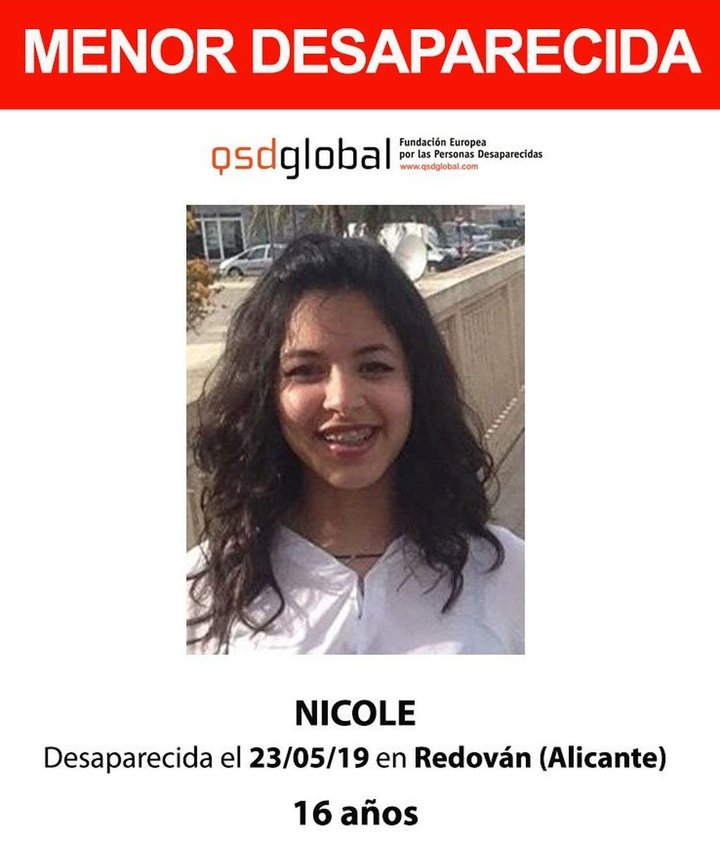 Buscan a Nicole, una menor de 16 años desaparecida en Alicante