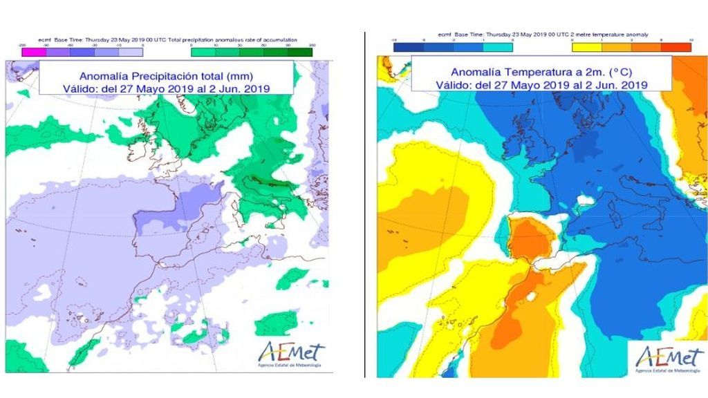 Anomalía de la temperatura y precipitación media de la semana que viene
