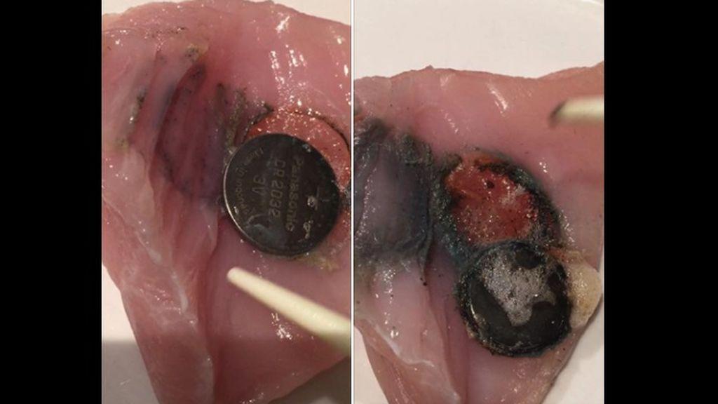 Efecto de una pila de botón en el organismo