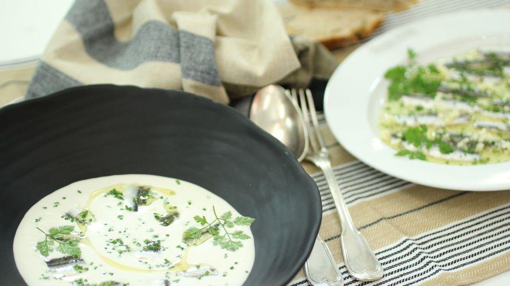 Boquerones con vinagre y ajo blanco