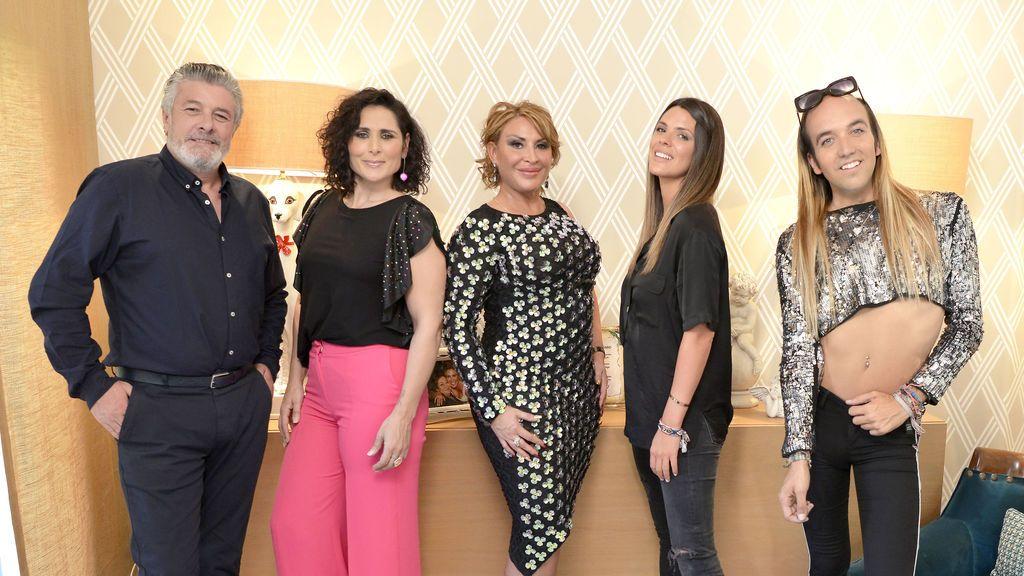 Raquel Mosquera, Rosa López, Francisco, Aless Gibaja y Laura Matamoros, protagonistas de la nueva entrega de 'Ven a cenar conmigo. Gourmet edition'