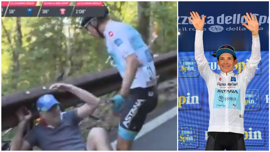 El colombiano 'SuperLópez' se lía a golpes con un aficionado que le tiró de su bicicleta en el Giro de Italia