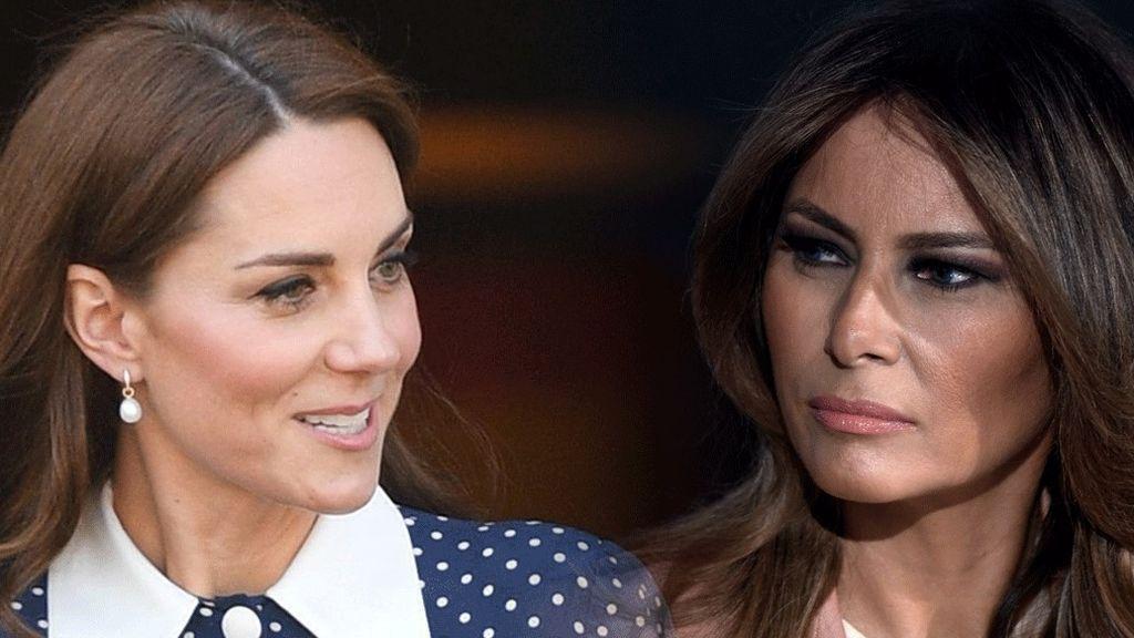 Duelo en blanco nuclear: los looks de Melania Trump y la Kate Middleton en Buckingham Palace, a examen