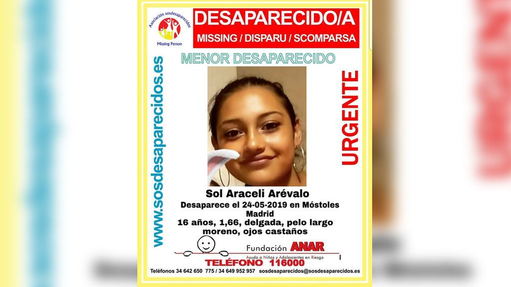 Buscan a Sol Araceli, una menor de 16 años desaparecida en Móstoles desde el pasado día 24