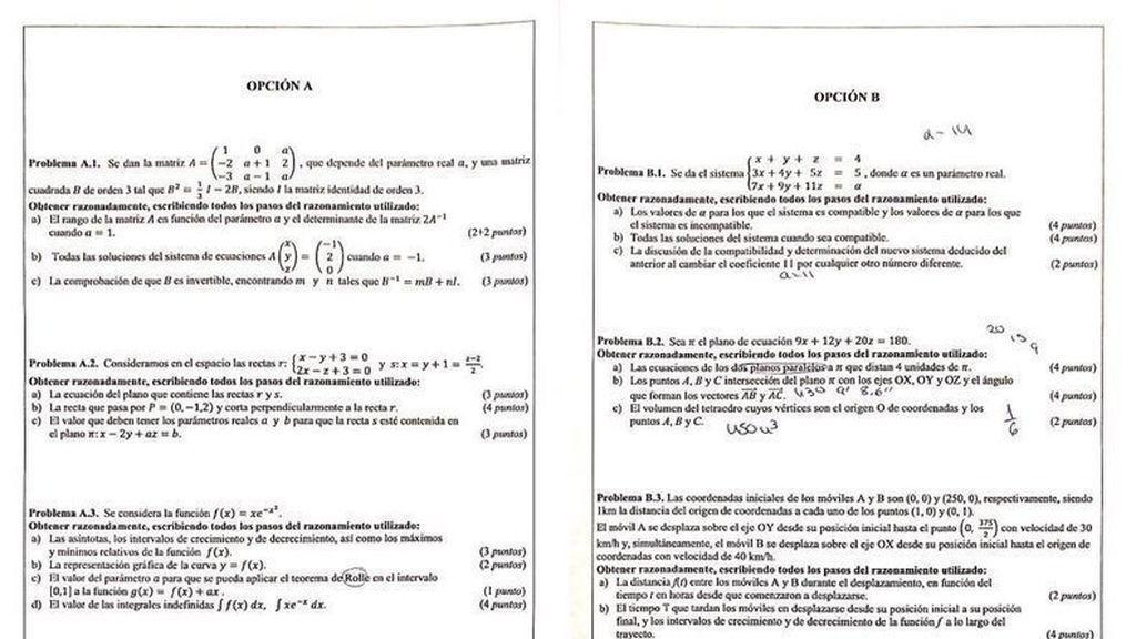 Selectividad matematicas valencia