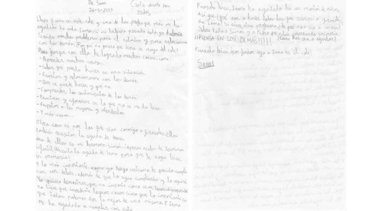 La carta de un niño con autismo al director de su colegio para que no despida a su profesora