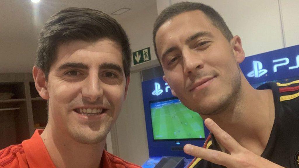 """El mensaje de Courtois a Hazard en su primer día como futbolista del Real Madrid: """"Bienvenido al mejor club del mundo"""""""