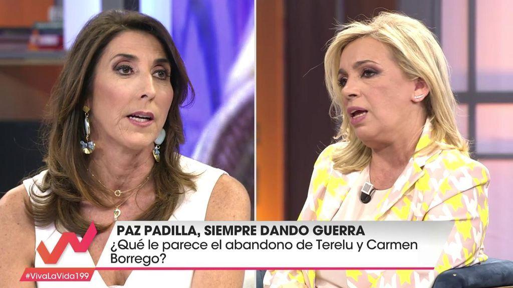 """Paz Padilla, a Carmen Borrego: """"Siento que tu hermana y tú ya no estéis en el programa"""""""