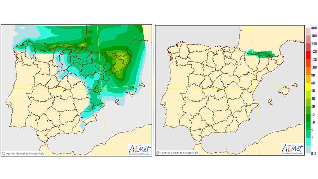 Precipitación media y precipitación media en forma de nieve, respectivamente, prevista para el martes