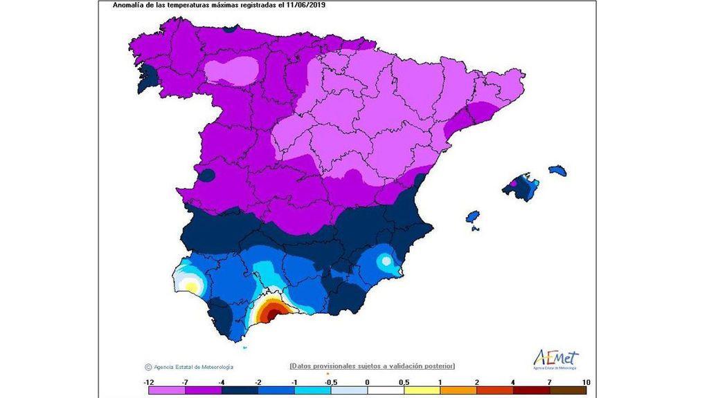Anomalía de las temperaturas mínimas registradas la madrugada del miércoles / Twitter Aemet